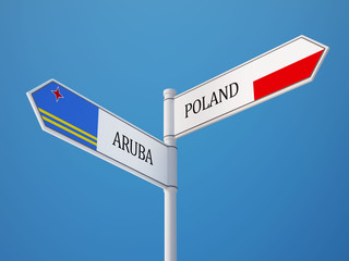 Poland Aruba.  Sign Flags Concept