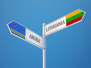 Lithuania Aruba.  Sign Flags Concept