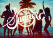 "Silhouettes of People Partying : ""Vacation Summer Paradise"""