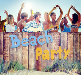 Multi-Ethnic Group of People and Beach Party Concept