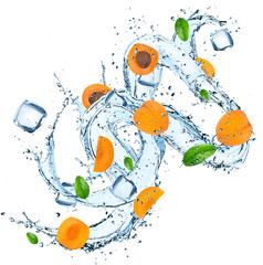 Fresh apricot with water splash