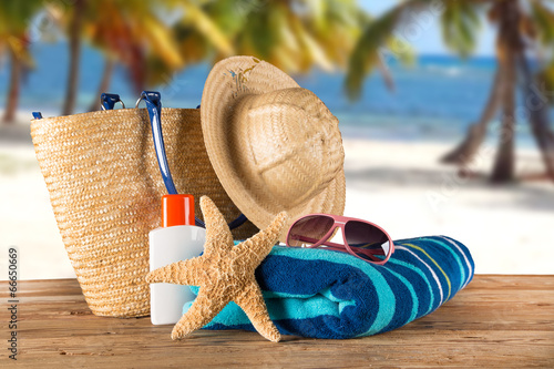 canvas print picture Close-up of summer accessories.