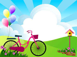 illustration of landscape with flowers clouds bike and balloons