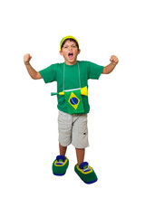 Brazilian mini fan celebrating