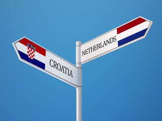 Croatia. Netherlands  Sign Flags Concept