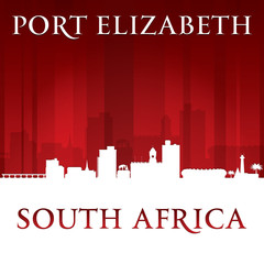 Port Elizabeth South Africa city skyline silhouette red backgrou