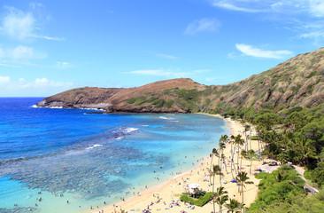 ハワイ ハナウマ湾の海と砂浜