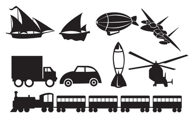 Black Transportation Icons Against White Background