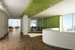 Leinwanddruck Bild - Büro Empfang grün 2