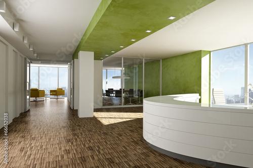 Leinwanddruck Bild Büro Empfang grün 2
