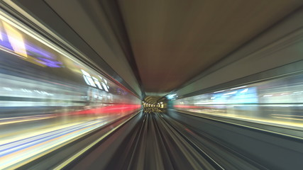 Dubai metro tunnel timelapse with staton