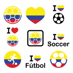 I love Colombian football, soccer icons set