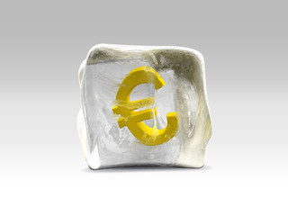 Euro gold in ice cube