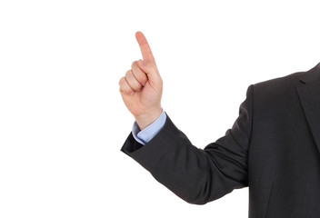 Businessman point up with a finger
