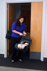 Newborn baby going home from hospital