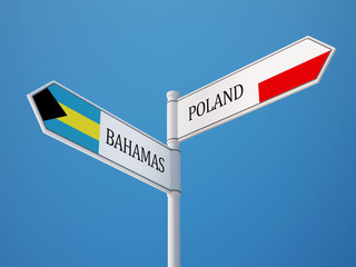 Poland Bahamas.  Sign Flags Concept