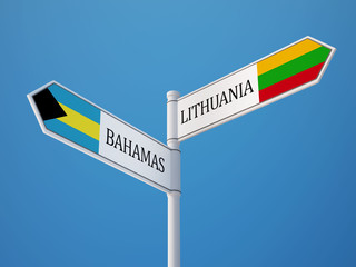 Lithuania Bahamas.  Sign Flags Concept