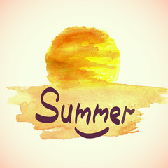 Watercolor summer background.