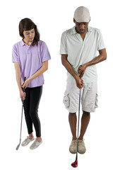 golf instructor with a teenager student on white background