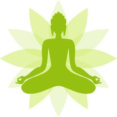 Green Buddha in a lotus