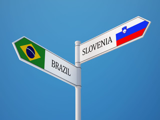 Slovenia Brazil  Sign Flags Concept