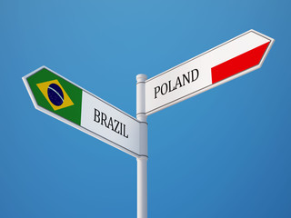 Poland Brazil  Sign Flags Concept