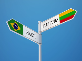Lithuania Brazil  Sign Flags Concept