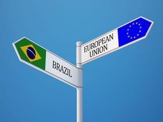 European Union Brazil  Sign Flags Concept