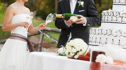 bride and groom drink
