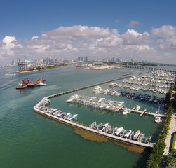 Aerial view of Miami marina