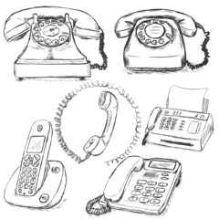 Vector Set of Sketch Telephones