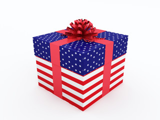 Box with American flag texture