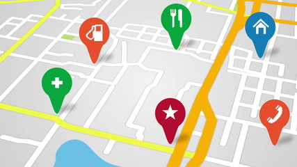 navigation city map and icons animation