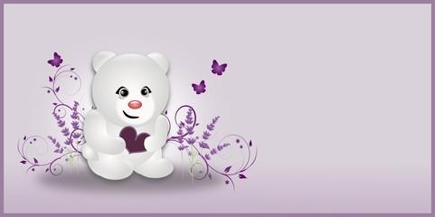 White Lavender Small Bear