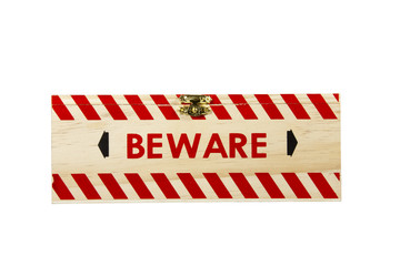 Wood Box with Brass Clasp Worded Beware
