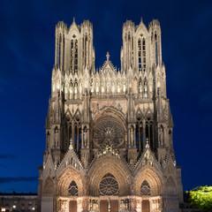 Famous Notre-Dame de Reims at twilight