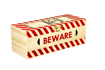 Wooden Box with Wording Open if you Dare and Beware