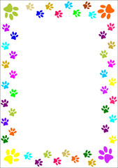 Colourful paw prints border.