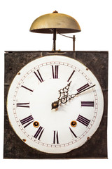 Vintage clock with one bell on top isolated on white
