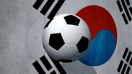 Soccer ball rotates on animated South Korean flag