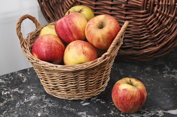 Wicker Basket of Ripe Apples