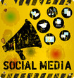 Social media sign vector illustration, grungy style