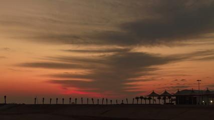 Amazing  sunset timelapse on the beach in Dubai