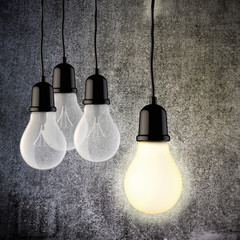 3d light bulb on vintage concrete wall