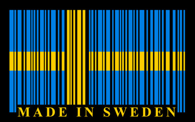 Sweden barcode flag, vector