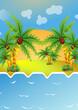 Постер, плакат: кокосовые пальмы на острове
