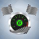 Rev counter with checkered flag