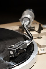 Detail of a turntable with record