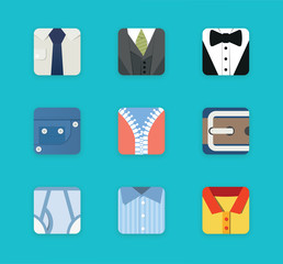 Clothing style flat icons set
