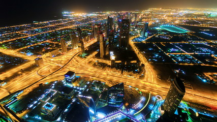 City traffic timelapse at night  in Dubai